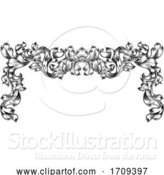 Vector Illustration of Border Pattern Scroll Leaf Baroque Vintage Motif by AtStockIllustration