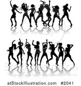 Vector Illustration of Borders of Black Silhouetted Women Dancing by AtStockIllustration
