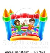 Vector Illustration of Bouncy House Castle Jumping Boys Children by AtStockIllustration