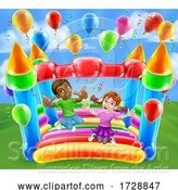 Vector Illustration of Bouncy House Castle Jumping Girl Boy Children by AtStockIllustration