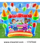 Vector Illustration of Bouncy House Castle Jumping Girls Children by AtStockIllustration