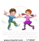 Vector Illustration of Boy and Girl Kid Child Characters Dancing by AtStockIllustration