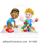 Vector Illustration of Boys Playing with Blocks and a Toy Car by AtStockIllustration