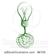 Vector Illustration of Brain Roots with a Green Light Bulb by AtStockIllustration