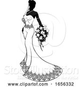 Vector Illustration of Bride Silhouette with Wedding Bouquet by AtStockIllustration