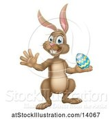 Vector Illustration of Brown Easter Bunny Rabbit Holding an Egg by AtStockIllustration