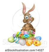Vector Illustration of Brown Easter Bunny Rabbit with a Basket of Eggs and Flowers by AtStockIllustration