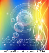 Vector Illustration of Bubbles Floating with Colorful Orbs and Waves by AtStockIllustration