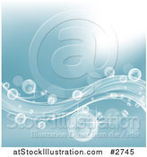 Vector Illustration of Bubbles Flowing in Blue Waves by AtStockIllustration