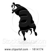 Vector Illustration of Bull Silhouette, on a White Background by AtStockIllustration