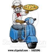 Vector Illustration of Bulldog Chef Pizza Restaurant Delivery Scooter by AtStockIllustration
