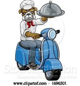 Vector Illustration of Bulldog Chef Scooter Delivery Mascot by AtStockIllustration