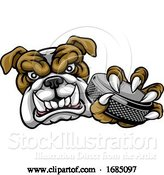 Vector Illustration of Bulldog Ice Hockey Player Animal Sports Mascot by AtStockIllustration