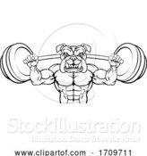 Vector Illustration of Bulldog Mascot Weight Lifting Body Builder by AtStockIllustration