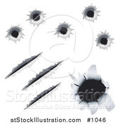 Vector Illustration of Bullet Holes and Gashes in Metal, over a White Background by AtStockIllustration