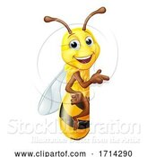 Vector Illustration of Bumble Honey Bee Bumblebee Character Sign by AtStockIllustration