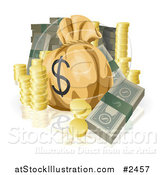 Vector Illustration of Bundled Cash Stacked Coins and a Money Sack by AtStockIllustration
