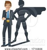 Vector Illustration of Business Man Super Hero Shadow Mascot by AtStockIllustration