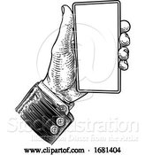 Vector Illustration of Business Suit Vintage Hand Holding Mobile Phone by AtStockIllustration