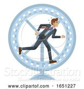 Vector Illustration of Businessman Hamster Wheel Stress Running Concept by AtStockIllustration