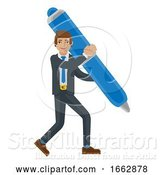 Vector Illustration of Businessman Holding Pen Mascot Concept by AtStockIllustration