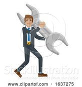 Vector Illustration of Businessman Holding Spanner Wrench Mascot Concept by AtStockIllustration
