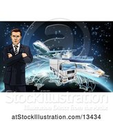 Vector Illustration of Businessman over a Globe with Cargo Logistics Trains, Planes, Big Rig Trucks, and Ships with Illuminated Paths over Stars by AtStockIllustration