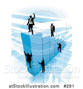 Vector Illustration of Businessmen Climbing Blue Bars to Reach the Top Where a Proud Business Man Stands by AtStockIllustration