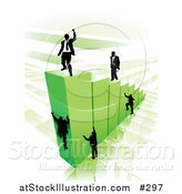 Vector Illustration of Businessmen Climbing Green Bars to Reach the Top Where a Proud Business Man Stands by AtStockIllustration