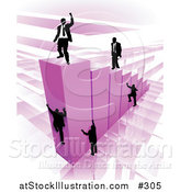 Vector Illustration of Businessmen Climbing Purple Bars to Reach the Top Where a Proud Business Man Stands by AtStockIllustration