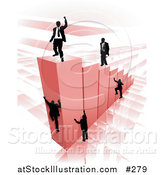 Vector Illustration of Businessmen Climbing Red Bars to Reach the Top Where a Proud Business Man Stands by AtStockIllustration