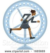Vector Illustration of Businesswoman Hamster Wheel Stress Concept by AtStockIllustration