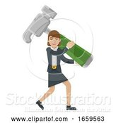 Vector Illustration of Businesswoman Holding Hammer Mascot Concept by AtStockIllustration