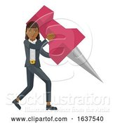 Vector Illustration of Businesswoman Holding Thumb Tack Pin Mascot by AtStockIllustration