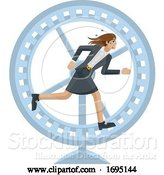 Vector Illustration of Businesswoman Running Stress Hamster Wheel by AtStockIllustration