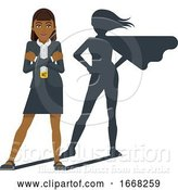 Vector Illustration of Businesswoman Super Hero Shadow Mascot by AtStockIllustration