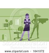 Vector Illustration of Businesswoman Super Hero Shadow Office Mascot by AtStockIllustration