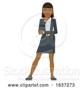 Vector Illustration of Businesswoman Thinking Mascot Concept by AtStockIllustration
