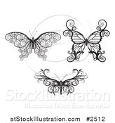 Vector Illustration of Butterflies in Ornate Black and White by AtStockIllustration
