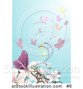 Vector Illustration of Butterflies near Pink and White Magnolia Blossoms by AtStockIllustration