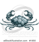 Vector Illustration of Cancer the Crab Holding up His Claws, with the Zodiac Symbol by AtStockIllustration