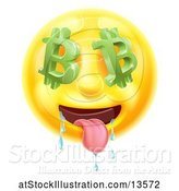 Vector Illustration of Cartoon 3d Drooling Yellow Male Smiley Emoji Emoticon Face with Bitcoin Symbol Eyes by AtStockIllustration