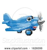 Vector Illustration of Cartoon Airplane 8 Bit Pixel Game Art Character by AtStockIllustration