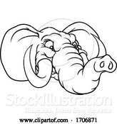 Vector Illustration of Cartoon Angry Elephant Animal Sports Mascot by AtStockIllustration