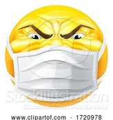 Vector Illustration of Cartoon Angry Emoticon Emoji PPE Medical Mask Face Icon by AtStockIllustration