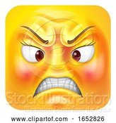 Vector Illustration of Cartoon Angry Lady Emoji Emoticon Icon Character by AtStockIllustration