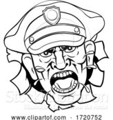 Vector Illustration of Cartoon Angry Policeman Police Officer Cartoon by AtStockIllustration