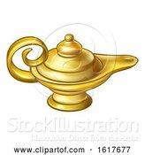Vector Illustration of Cartoon Antique Gold Aladdin Magic Lamp by AtStockIllustration