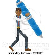 Vector Illustration of Cartoon Asian Doctor Guy Holding Pen Mascot Concept by AtStockIllustration