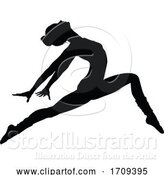 Vector Illustration of Cartoon Ballet Dancing Silhouette by AtStockIllustration